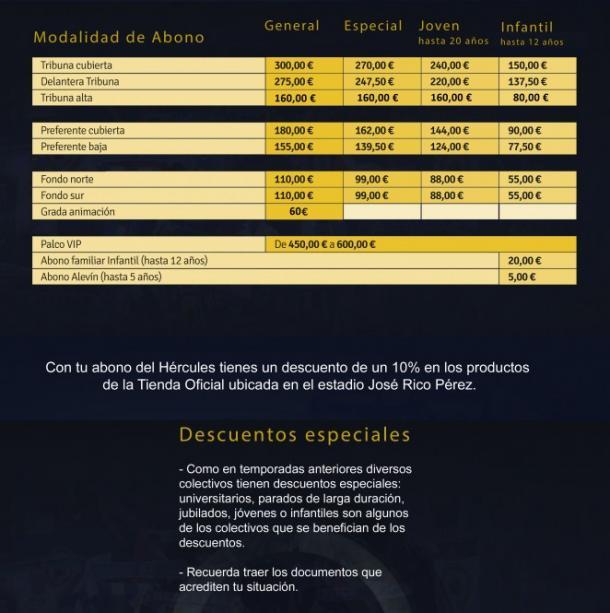 Precios de la campaña de abonos del Hércules CF | Foto: Hércules CF