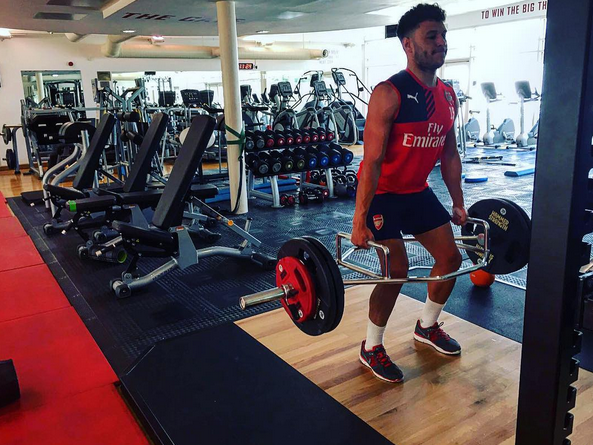 Alex Oxlade-Chamberlain (pictured) in rehabilation work | Photo: Instagram