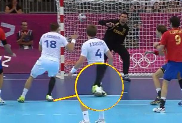 Captura de TVE del último gol de Accambray en los Juegos Olímpicos de Londres 2012.