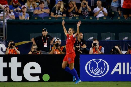 Carli Lloyd celebrates her goal | Source: Matt Slocum-AP