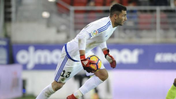 Adán durante el partido en Ipurúa | La Liga