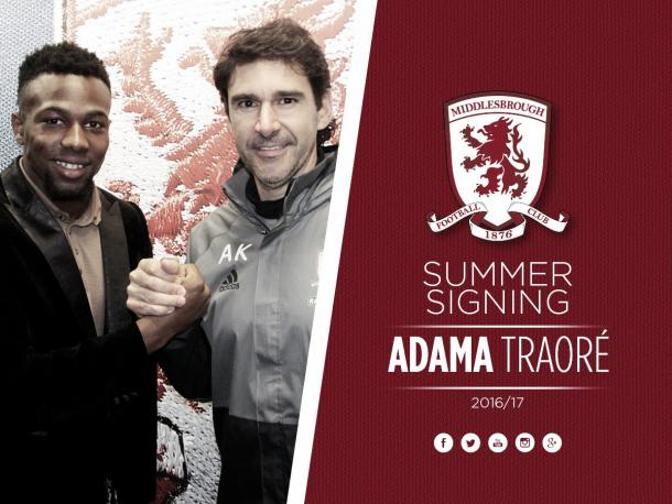 Adama Traore arrived on Teesside on transfer deadline day from Aston Villa | Photo: MFC.co.uk