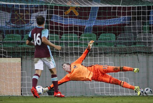 Above: Adrian making a save in West Ham's 2-1 defeat to NK Domazle | Photo; whufc.com