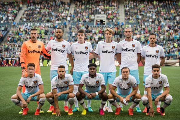 Above: West Ham United lining-up ahead of their 3-0 defeat to Seattle Sounders | Photo: whufc.com