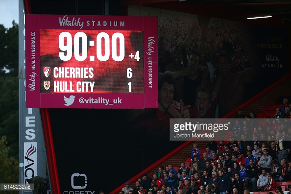 The scoreboard at a jubilant Vitality Stadium as the demolition of Hull draws to a close | Photo: GettyImages/Jordan Mansfield
