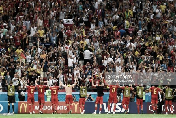 La selección belga celebra con su afición el pase a semis / Fuente: Getty Images