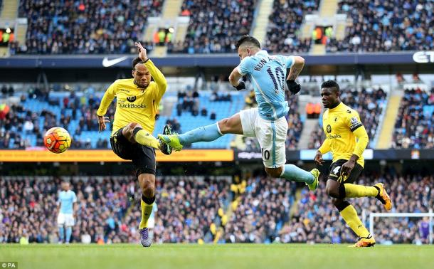 Aguero rifles in a third (photo: PA)