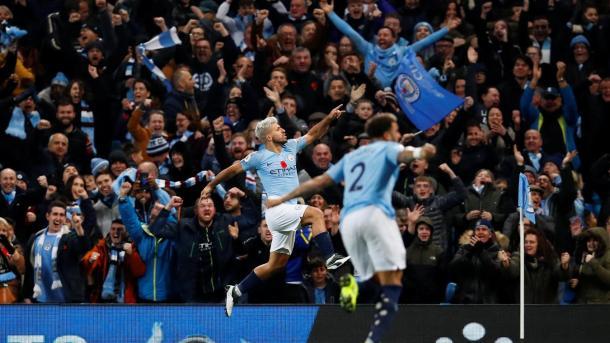 Agüero celebrando el 2-0. Foto: Premier League.