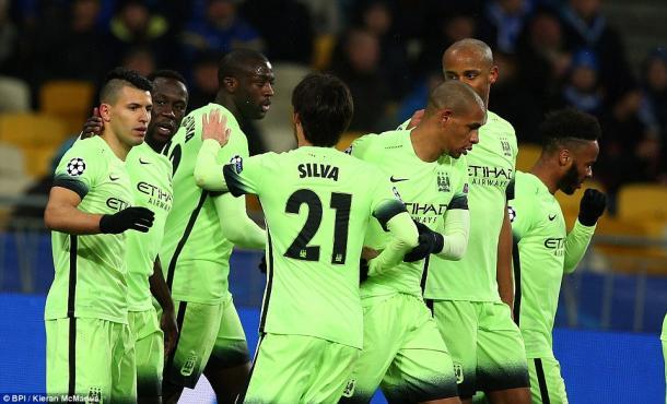 City players celebrate Aguero's goal against Kyiv midweek (photo: BPI)