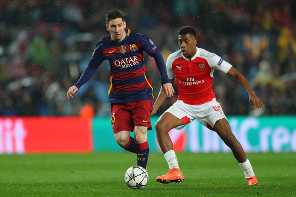 Iwobi challenges Messi in possession. | Source: Daily Mail