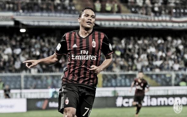 Bacca comemora o gol que fez o Milan voltar a vencer depois de revés para Napoli e Udinese (Foto: Divulgação/Milan)
