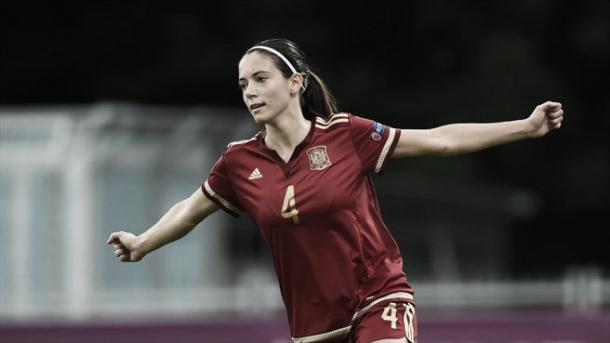 Spain's Aitana Bonmati celebrates scoring a penalty against Austria. Photo: Sportsfile