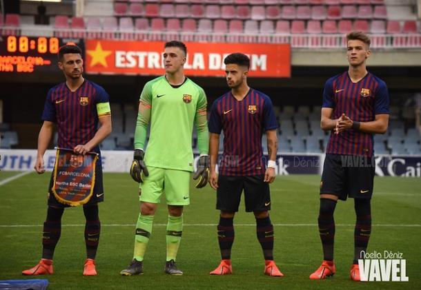 Imagen de los jugadores del FC Barcelona antes del comienzo de un partido. FOTO: Noelia Déniz
