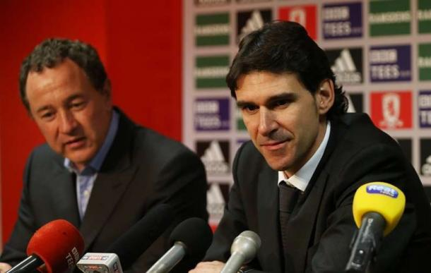 Karanka during his first Middlesbrough press conference with chairman Steve Gibson | Photo: theleaguepaper.com