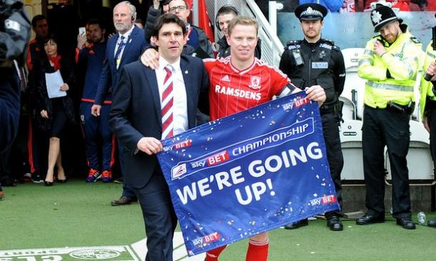 Manager and captain celebrate promotion to the Premier League | Photo: Greig Cowie/BPI/Rex/Shutterstock
