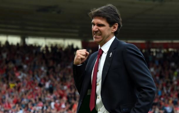 Aitor Karanka celebrates Middlesbrough's opener | Photo: Katie Lunn/Gazette