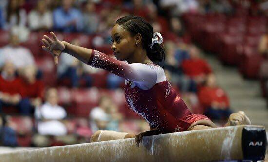 Aja Simms performs on the balance beam for Alabama against LSU in Tuscaloosa Pic:/Alabama Sports