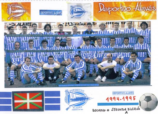 Óscar Arias (4º por la derecha, fila superior), en el equipo que consiguió el ascenso a 2ª en la temporada 1994-1995. Fuente: glorioso.net