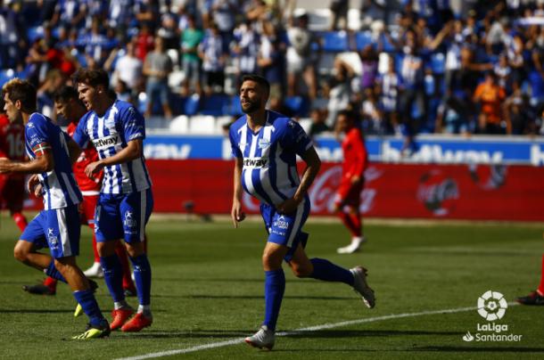 Bastón marca el 1-1. Foto: Twitter de La Liga.