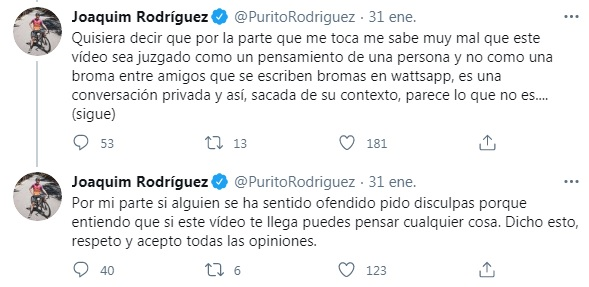 Disculpas de Purito Rodriguez. Foto: twitter.com