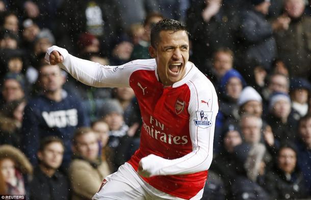 Sanchez celebrates his equaliser (photo: reuters)