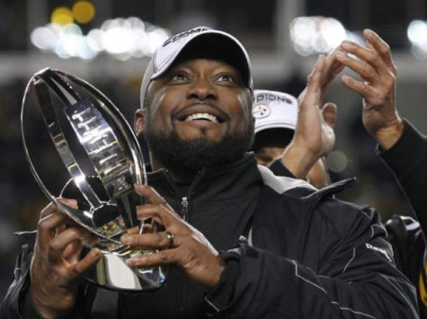 Tomlin celebrates winning the Super Bowl in 2007 | Source: theshadowleague.com