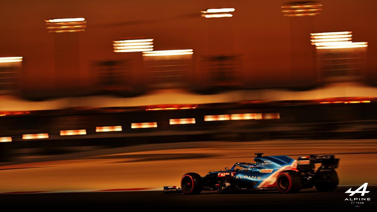 Fernando Alonso en los test de pretemporada. (Fuente: Twitter @AlpineF1Team)