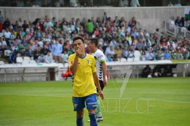 Álvaro García no celebró el tanto amarillo | Fuente: Cádiz CF.