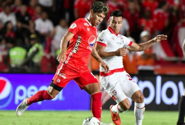 Independiente Santa Fe y América de Cali, en juego válido por la sexta fecha de los cuadrangulares semifinales. Imagen: Win Sports