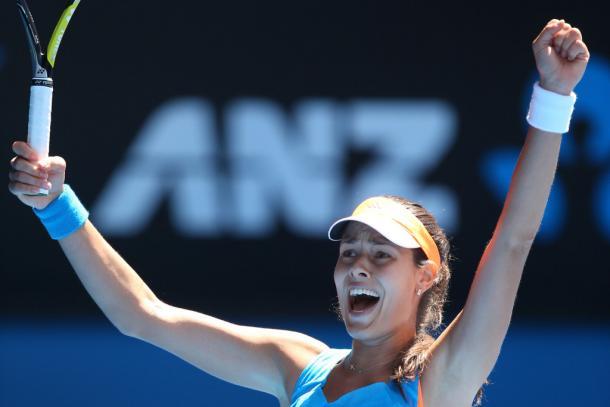 El grito de Ivanovic tras derrotar a Serena Williams en el Open de Australia. Sin duda, una de las mejores victorias de su carrera (Foto: zimbio)
