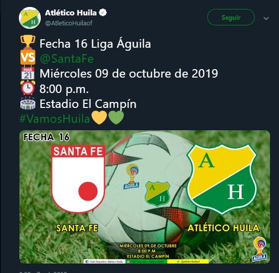 Independiente Santa Fe vs Huila, miércoles 9 de octubre, a las 20:00. Imagen: @AtleticoHuilaof