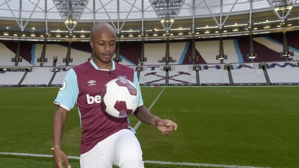 Above: Andre Ayew been unveiled as a West Ham United player | Photo: whufc.com