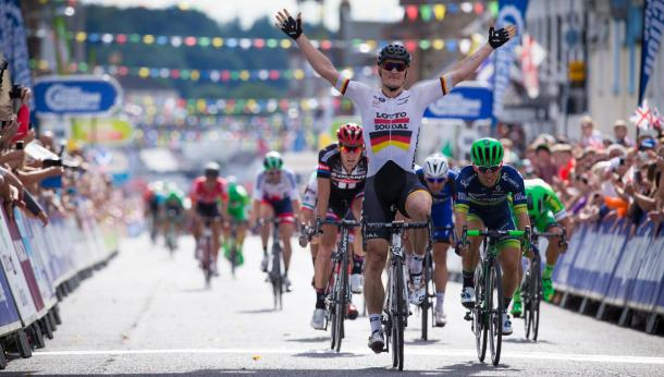 Andre Greipel (Lotto Soudal) posts a victory salute after winning stage one in Castle Douglas. | Photo: Tour of Britain