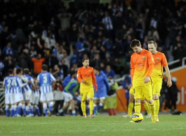 Reação de Messi e Iniesta após gol da virada nos acréscimos resume tudo (Foto: Ander Gillenea/AFP/Getty Images)