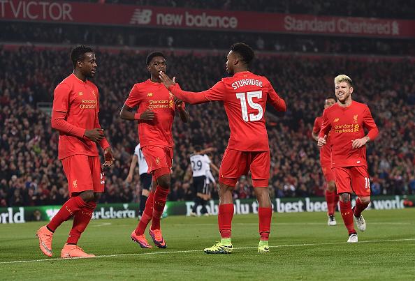 Stu comemora gol que abriu o placar em Anfield | Foto: Andrew Powell/LFC/Getty Images