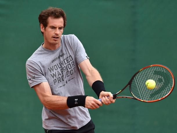 Andy Murray in preparation for his title defense in Madrid. Photo: Getty