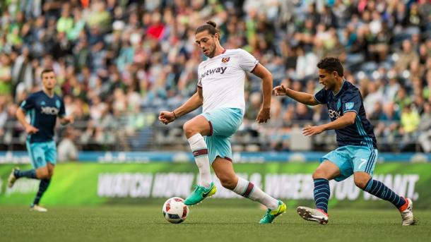 Above: Andy Carroll in action for West Ham in their 3-0 defeat to the Seattle Sounders | Photo:whufc.com