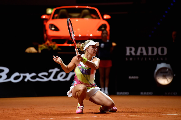 Kerber Gets Low To Play A Forehand During The Match. Photo: Dennis Grombkowski/Getty Images