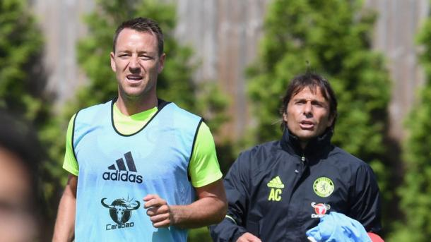 Above: John Terry in action in Antonio Conte's first training session as Chelsea manager | Photo: Sky Sports