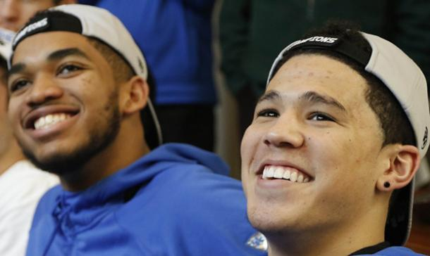 Karl-Anthony Towns and Devin Booker during their Kentucky days (AP Photo/James Crisp)