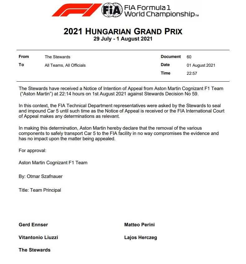 Sanción Oficial. Vía: The Official Home Formula One
