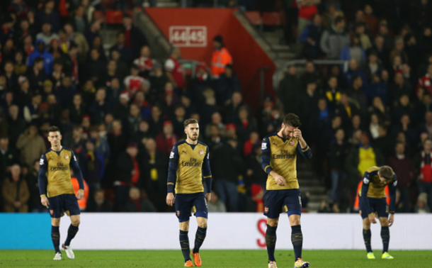 Arsenal players looked jaded during their shock 4-0 defeat at the hands of Southampton on Boxing Day last season. | Photo: Getty