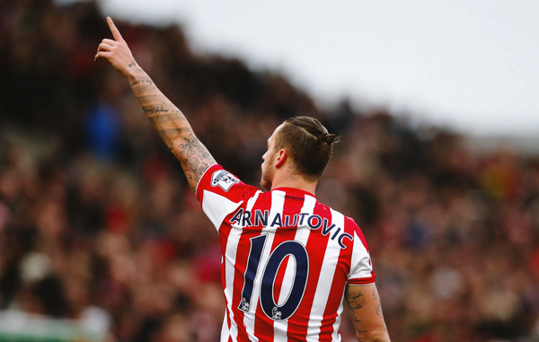 Arnautovic (pictured) celebrates as Stoke break the deadlock in style
