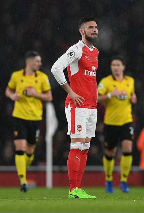 Arsenal-Watford 1-2, l'espressione emblematica di Giroud. | Fonte immagine: Gooner Talk