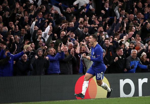 Hazard comemora o gol (Foto: John Walton - PA Images)