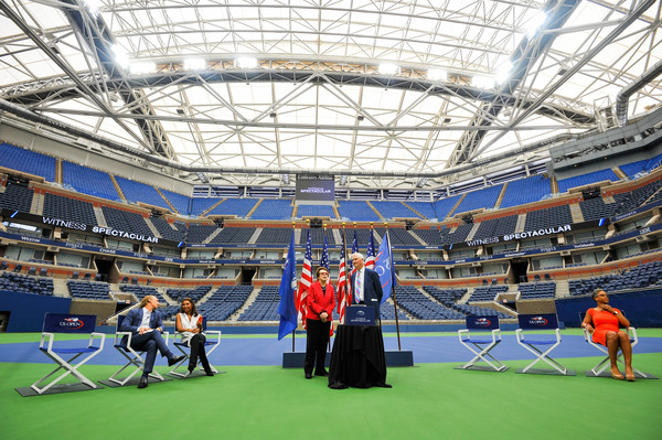 The Arthur Ashe Stadium with its new retractable roof unveiled last year (Photo by Alex Goodlett / Getty)