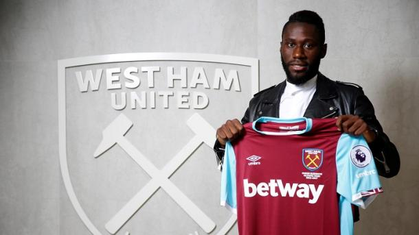 Above: Arthur Masuaku been unveiled as a West Ham United player | Photo: whufc.com