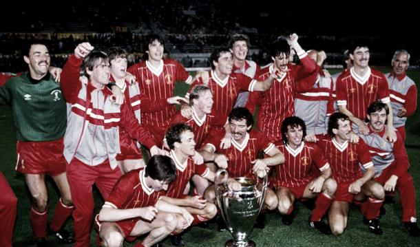 The reds celebrate their first European cup in 1977 (image: Empics Sports Agency)