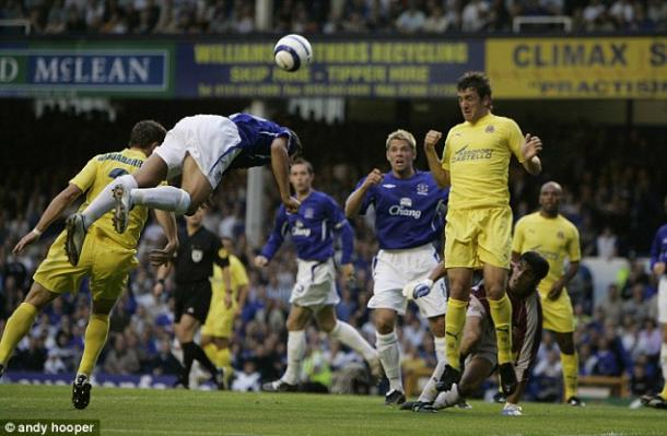 Above; Everton during their Champions League play-off tie with Villarreal back in the 04-05 season | Photo: Andy Hooper
