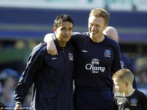 Above: David Moyes and Tim Cahill during their time together at Everton | Photo: Jason Carnduff / BPI
